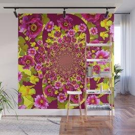 MODERN FUCHSIA & YELLOW FLORALS  ART Wall Mural