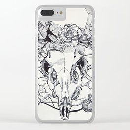 Skull and roses Clear iPhone Case