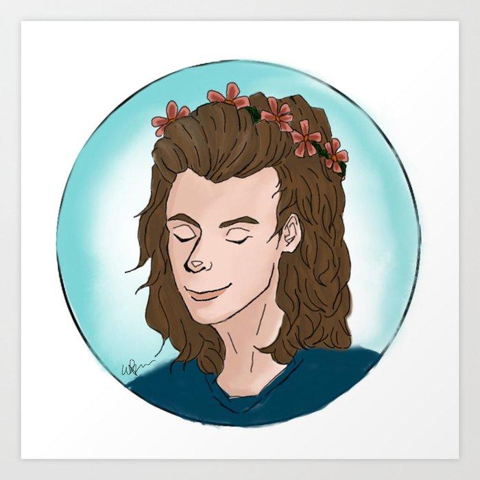 Harry Styles Flower Crown Art Print