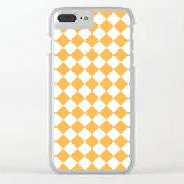 Diamonds - White and Pastel Orange Clear iPhone Case