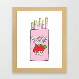 Pink Pocky Japanese Snacks Food Strawberry Framed Art Print
