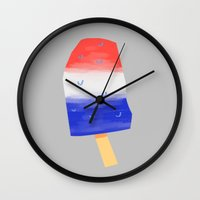 popsicle Wall Clocks featuring Popsicle by SLUGSPOON