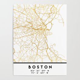 BOSTON MASSACHUSETTS CITY STREET MAP ART Poster