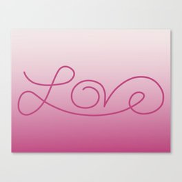 Love calligraphy print - gradient pink background with deep pink print Canvas Print
