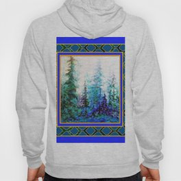 WESTERN  BLUE FOREST WATER COLOR TEAL PATTERN ART Hoody