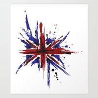 union jack Art Prints featuring Union Jack by Chris's Creations