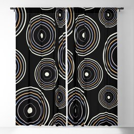 CONCENTRIC CIRCLES IN BLACK (abstract pattern) Blackout Curtain