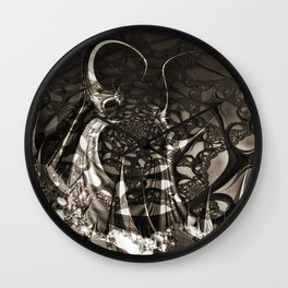Life of black and white abstract creatures Wall Clock
