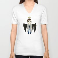 castiel V-neck T-shirts featuring Castiel by Chrizzy0789
