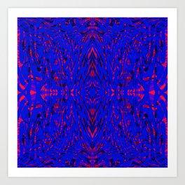 blue on red symmetry Art Print