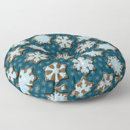 Frosted Gingerbread on Winter Night Sky Floor Pillow