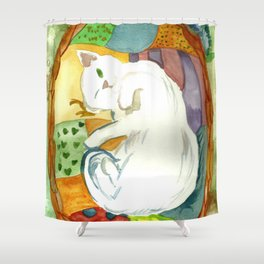 Cat in the Basket Shower Curtain