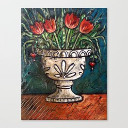 Tulips In Urn Canvas Print