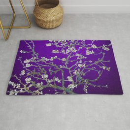 Vincent van Gogh Blossoming Almond Tree (Almond Blossoms) Amethyst Sky Rug
