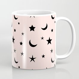 Black moon and star pattern on pink background Coffee Mug
