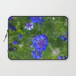 Summer Green Meadow and Blue Flowers Laptop Sleeve