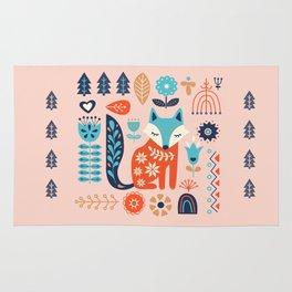 Soft And Sweet Scandinavian Fox Folk Art Rug