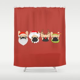 Christmas Bulldogs Shower Curtain