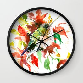 Little Hummingbird and Red Flowers Wall Clock