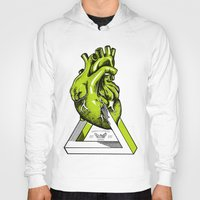 anatomical heart Hoodies featuring Green Anatomical heart  by Mia Hawk