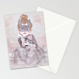 Little Girl in Mask Stationery Cards
