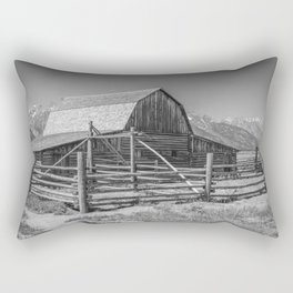 Barn in Wyoming Black and White Gifts Rectangular Pillow