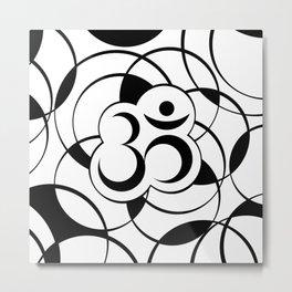 Geometric Om Symbol Black and White Metal Print