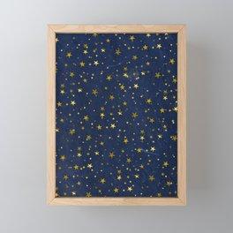 Golden Stars on Blue Background Framed Mini Art Print