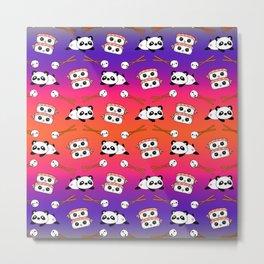 Cute funny Kawaii chibi little playful baby panda bears, happy cheerful sushi with shrimp on top, rice balls and chopsticks bright orange and purple pattern design. Nursery decor. Metal Print