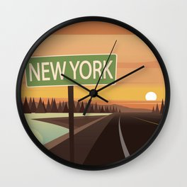 New York or Bust Wall Clock