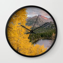 ROCKY MOUNTAIN AUTUMN COLORADO NATIONAL PARK BEAR LAKE LANDSCAPE Wall Clock