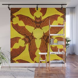 Geometric Bat Pattern - Golden version Wall Mural