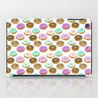junk food iPad Cases featuring Donuts - junk food treat funny illustration with happy food face doughnuts pastry bakery by CharlotteWinter