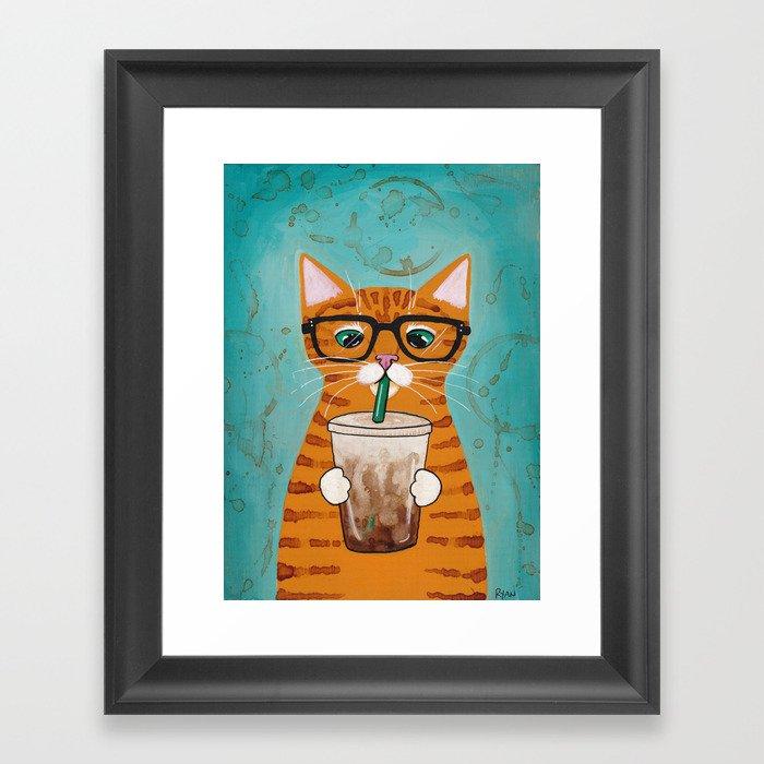 Iced Coffee Cat Gerahmter Kunstdruck