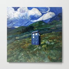 tardis in the countryside Metal Print