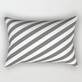 Pantone Pewter Gray & White Stripes Fat Angled Lines - Stripe Pattern Rectangular Pillow
