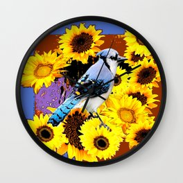 MODERN BLUE  JAY & COFFEE BROWN SUNFLOWERS Wall Clock