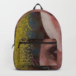 Golden Tears IV in Blue (Freya's Heartache) portrait painting Backpack