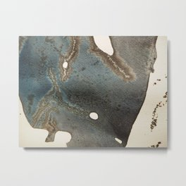 Abstract map blue and black ink drawing Metal Print