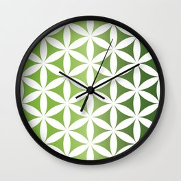 Green seed of life pattern Wall Clock