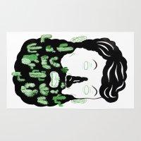 cactus Area & Throw Rugs featuring Cactus Beard Dude by David Penela