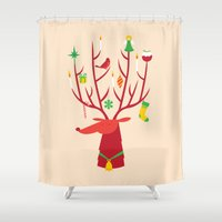reindeer Shower Curtains featuring Reindeer by Wharton