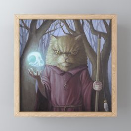 Play With Me - Cat Sorcerer Painting Framed Mini Art Print