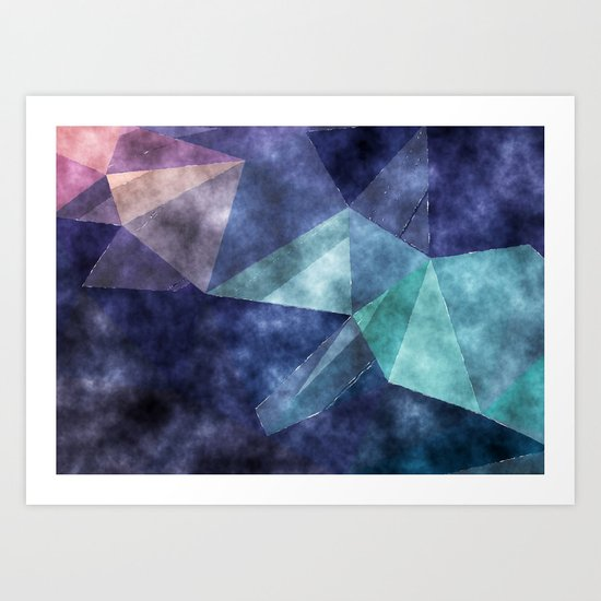 The deep blue sea- Watercolor triangles pattern in blue colors Art Print