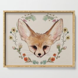 Fennec Fox Cub in Desert Wreath Serving Tray