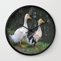 ducks Wall Clocks featuring Ducks by Stephanie Owens