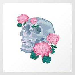 chrysanthemums skull Art Print
