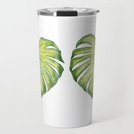 Two monstera leaves in watercolor Travel Mug