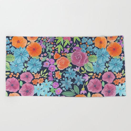 Floral watercolor pattern Beach Towel