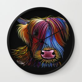 Scottish Highland Cow ' PoDGER ' by Shirley MacArthur Wall Clock